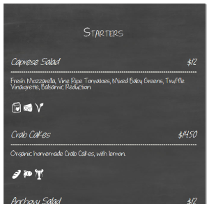 ResRes Chalkboard menu