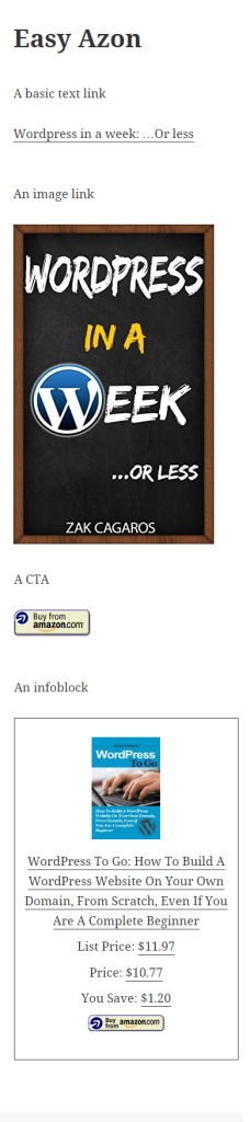 Easy Azon link types