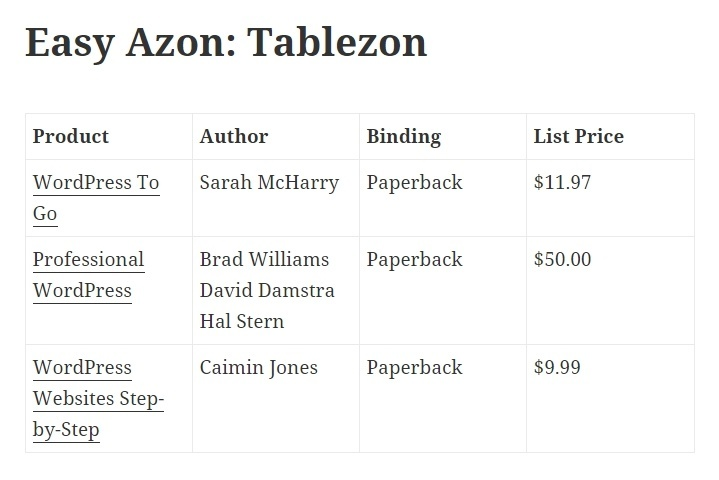 Easy Azon tablezon