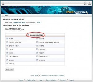 cPanel mysql database wizard user privileges