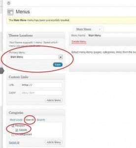 custom menu adding categories