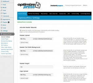 optimizepress settings