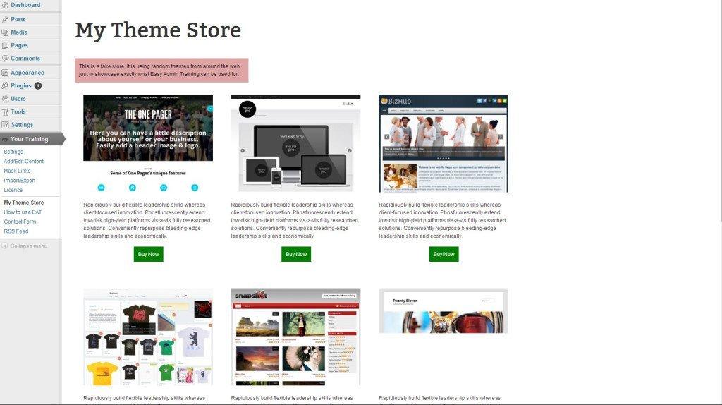 Easy Admin Training Store Example