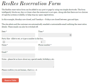 ResRes Reservation Form