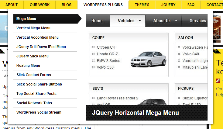 WordPress Menu Plugins - jQuery Mega Menu